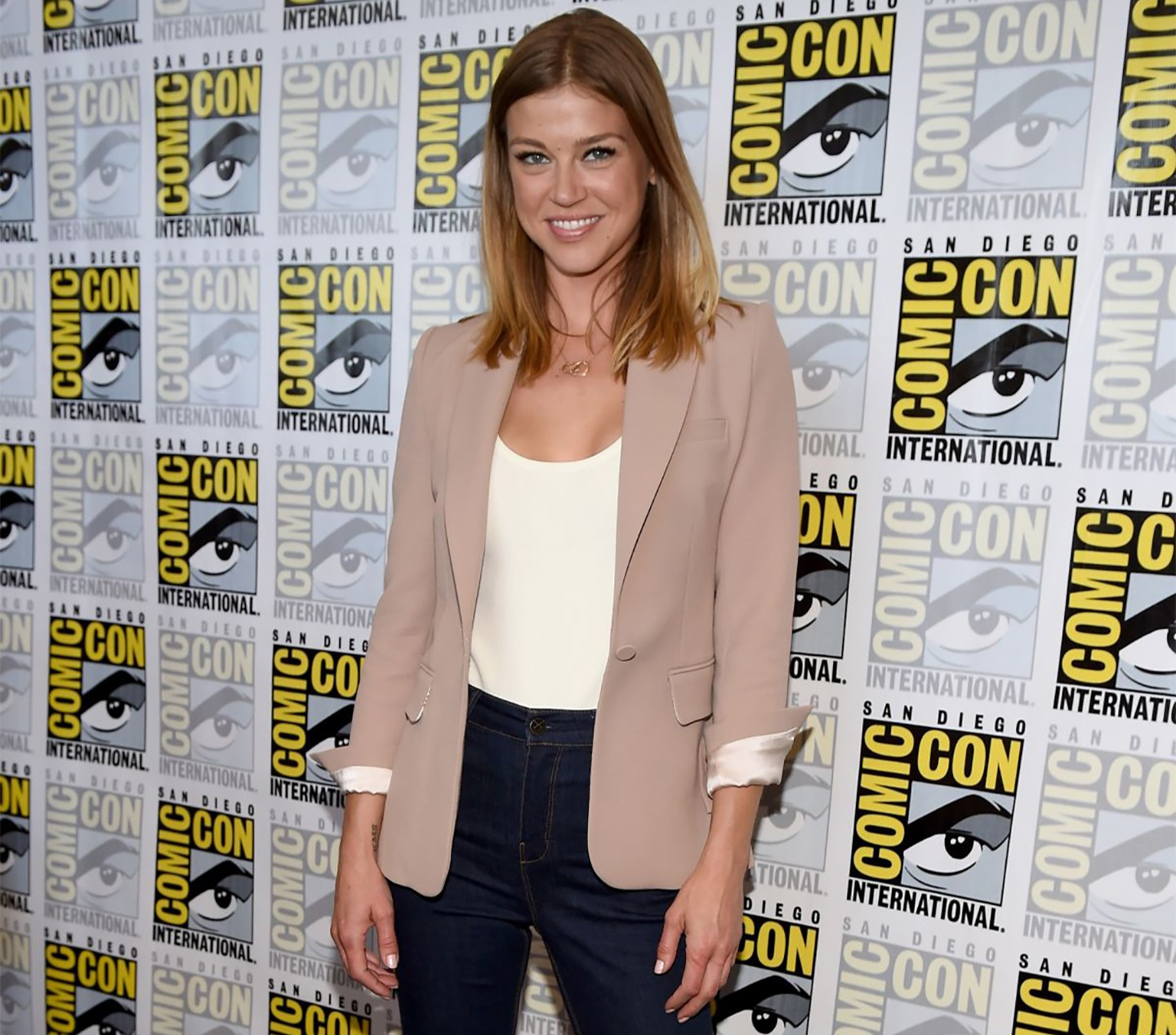 ADRIANNE PALICKI in Shell Nude Jacket at the Comic Con in San Diego