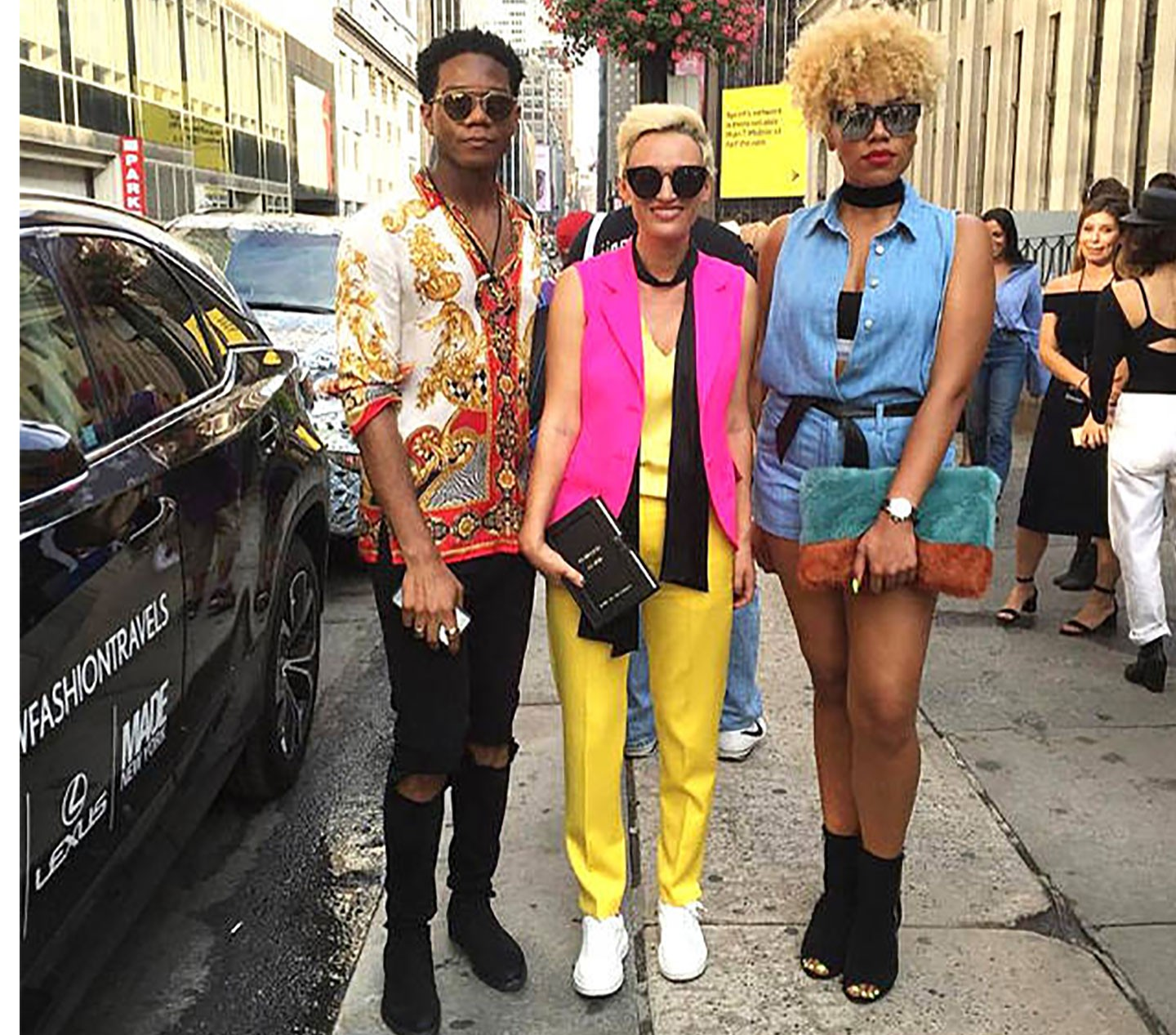 CARMEN NEGOITA - Wears yellow pants and fluo pink vest for NYFW