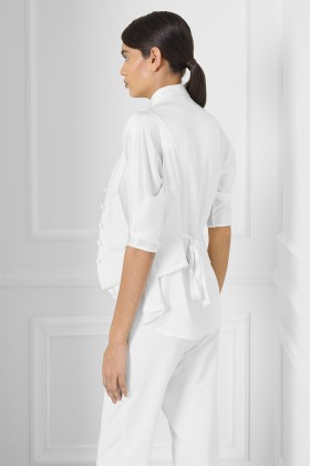 WHITE VEST WITH SILK BACK AND LINING