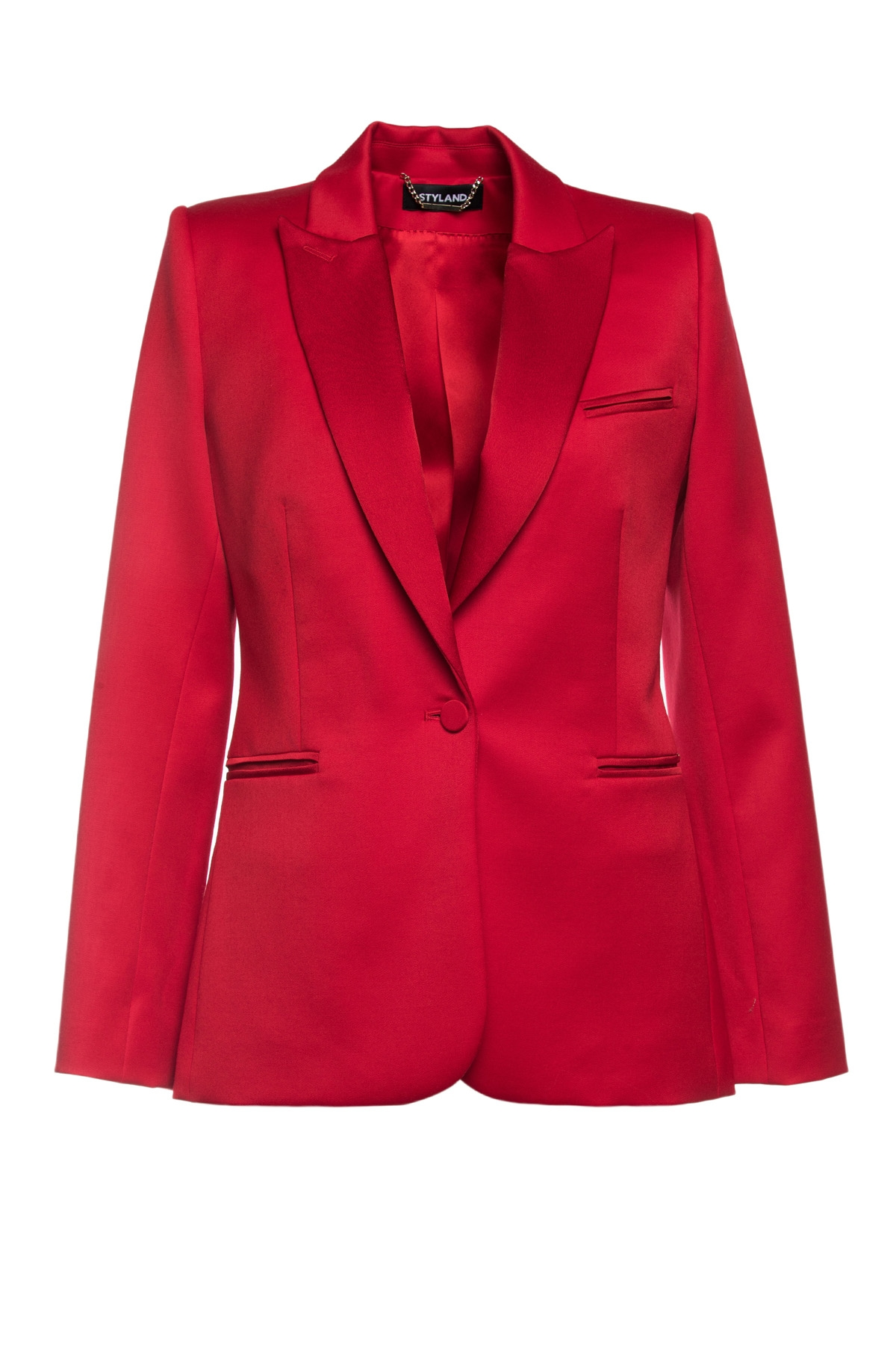 RED SATIN-TRIMMED WOOL TUXEDO WITH SILK LINING