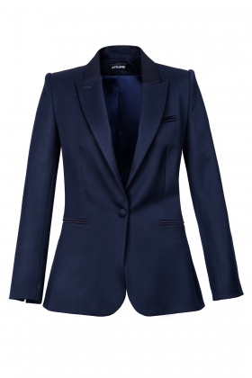 NAVY SATIN-TRIMMED WOOL TUXEDO WITH SILK LINING