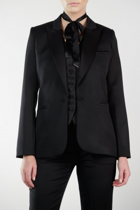 BLACK SATIN-TRIMMED WOOL TUXEDO WITH SILK LINING