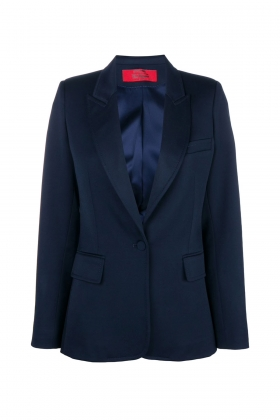 NAVY WOOL BLAZER WITH PEAK LAPELS