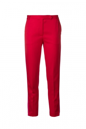 RED PREMIUM WOOL PANTS WITH BLACK SIDE PIPING