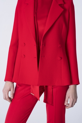 RED DOUBLE BREASTED WOOL JACKET WITH SILK LINING