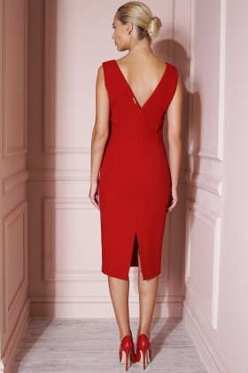 RED CREPE WOOL DRESS WITH SILK LINING
