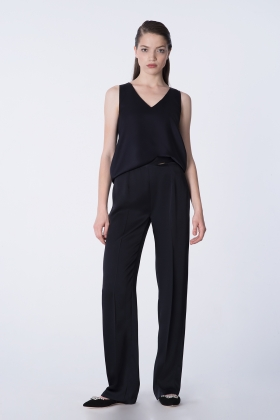 SATIN WIDE-LEG BLACK PANTS