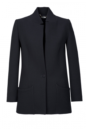 CREPE WOOL LONG JACKET WITH SILK LINING