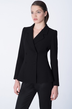BLACK DOUBLE BREASTED WOOL JACKET WITH SILK LINING