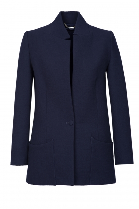 NAVY DOUBLE BREASTED WOOL JACKET WITH SILK LINING