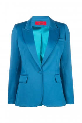 PREMIUM WOOL BLAZER WITH PEAK LAPELS MOROCCAN BLUE