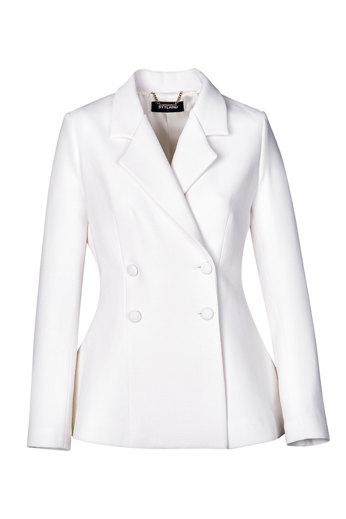 WHITE DOUBLE BREASTED WOOL JACKET