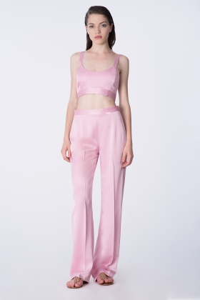 SATIN WIDE-LEG CRYSTAL ROSE PANTS