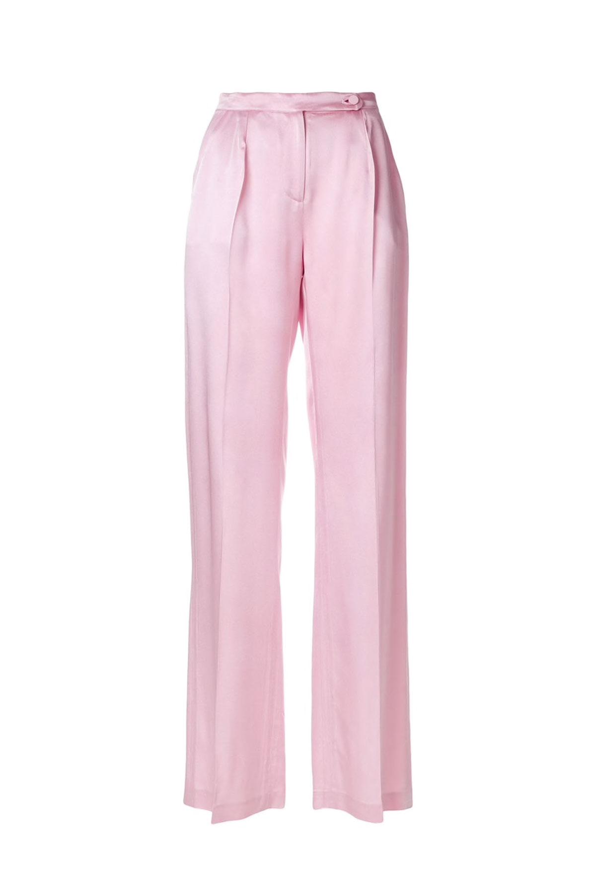 SATIN WIDE-LEG CRYSTAL ROSE PANTS