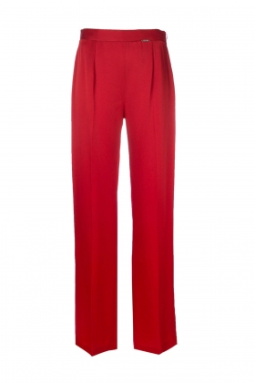 RED SATIN WIDE-LEG PANTS