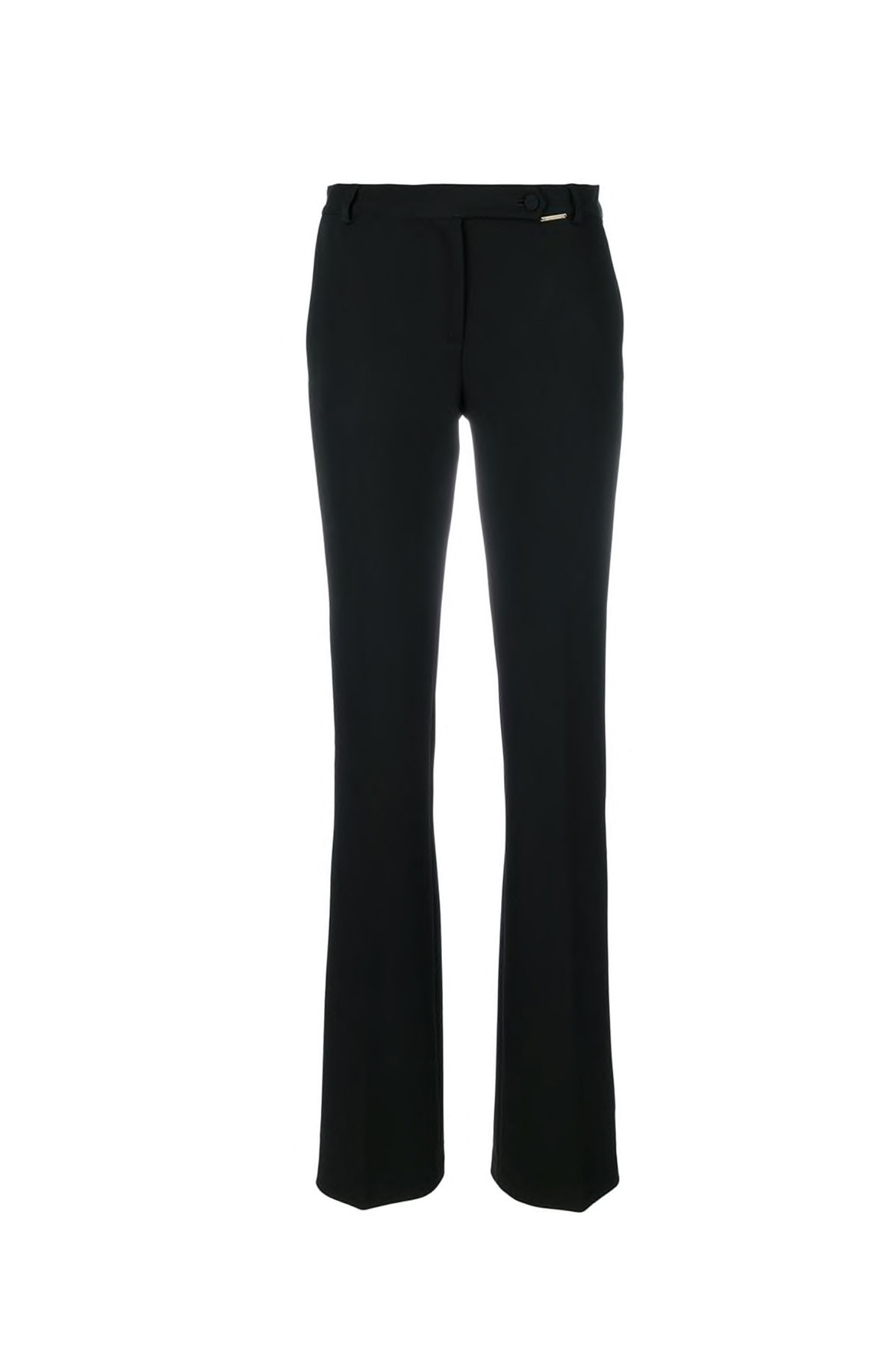 BLACK FLARED PANTS WITH BLACK STRIPE