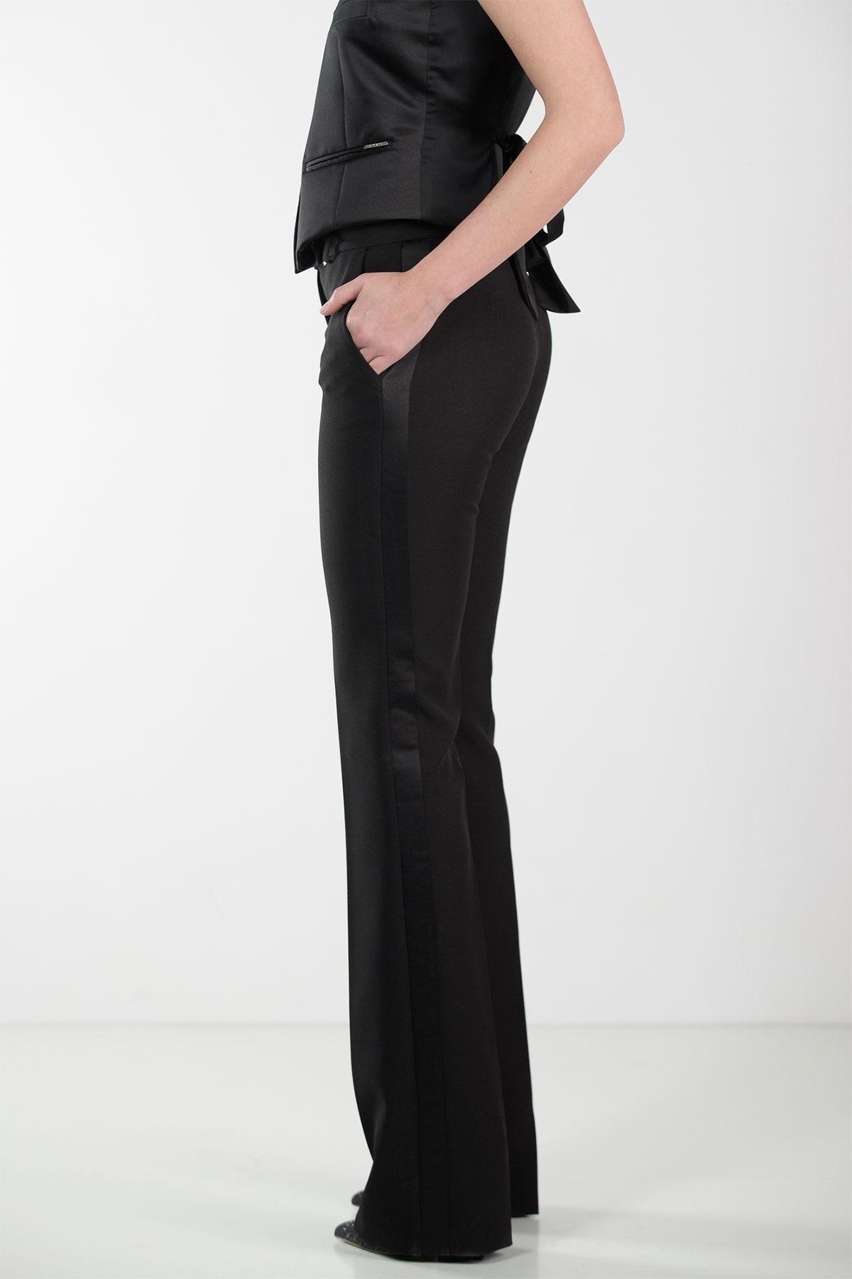 BLACK FLARED PANTS WITH BLACK STRIPE