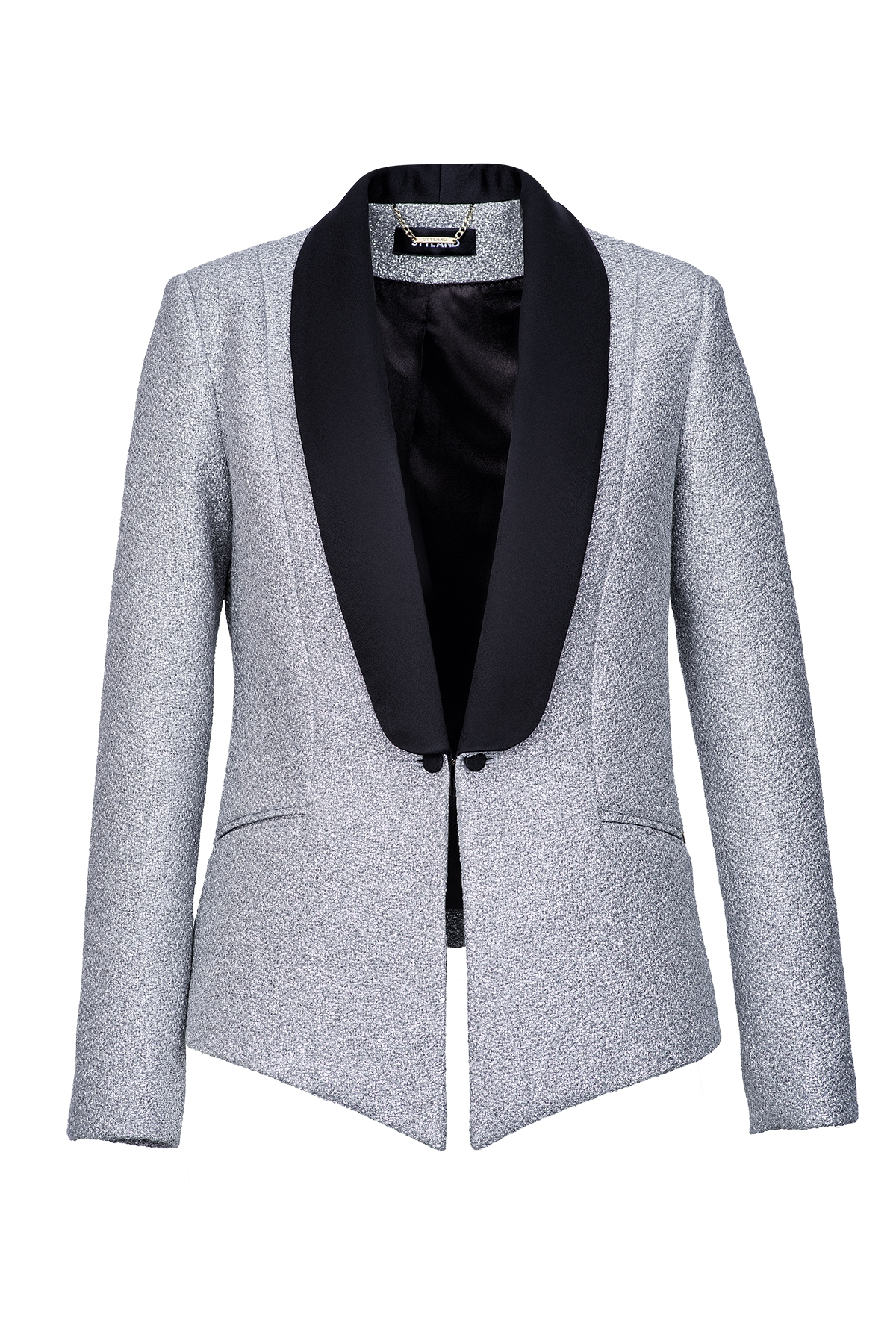SILVER TUXEDO WITH BLACK SHAWL LAPEL