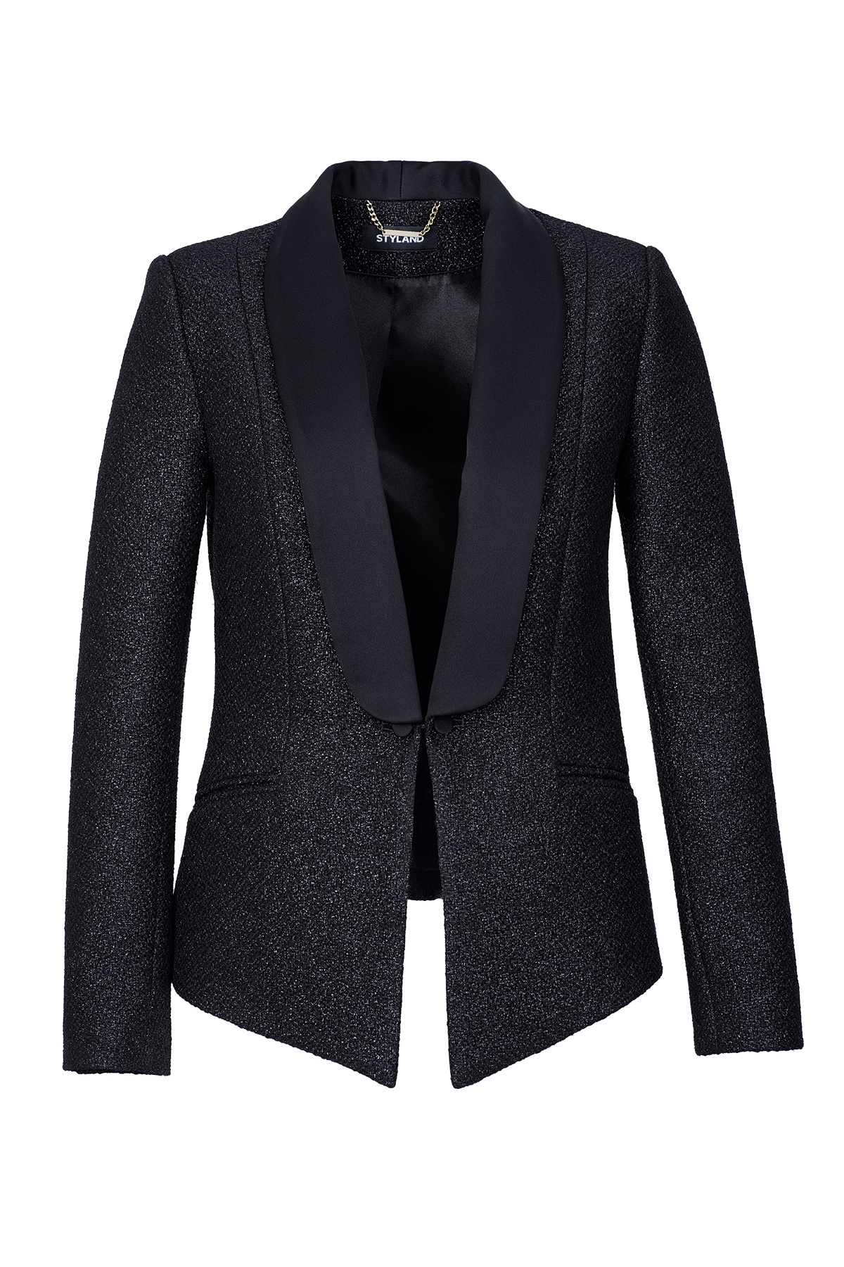 METALLIC BLACK TUXEDO WITH SHAWL LAPEL