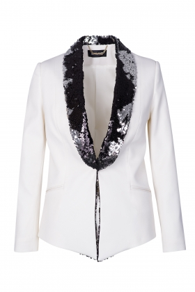 WHITE TUXEDO WITH BLACK PAILLETTES