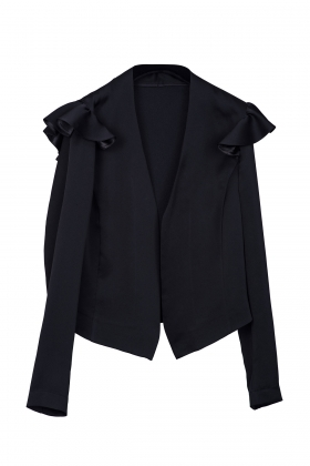 BLACK SATIN BLAZER WITH WHITE TEXT ON SLEEVE