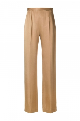 TOBACCO SATIN WIDE-LEG PANTS