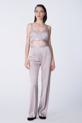 GRAY SATIN WIDE-LEG PANTS