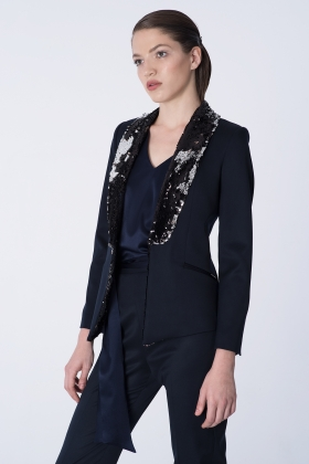 NAVY TUXEDO WITH PAILLETTES