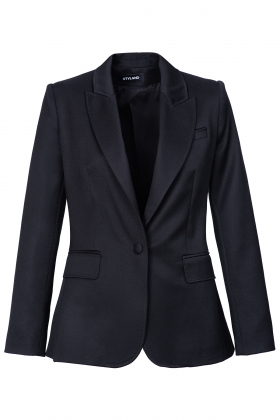 BLACK WOOL BLAZER WITH PEAK LAPELS