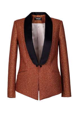 COPPER GOLD TUXEDO WITH BLACK SHAWL LAPEL