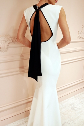 ANGELINA LONG WHITE DRESS WITH BLACK BOW