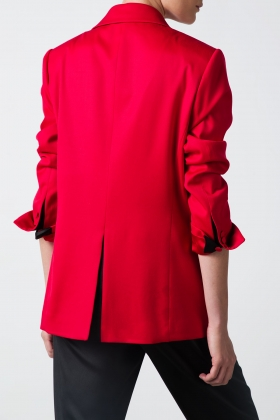 RED OVER-SIZED BLAZER WITH BLACK DETAILS