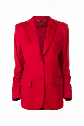 RED OVERSIZED BLAZER WITH BLACK DETAILS
