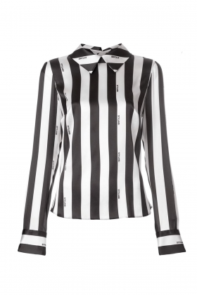 BACK BUTTONS BOLD STRIPES SILK SHIRT