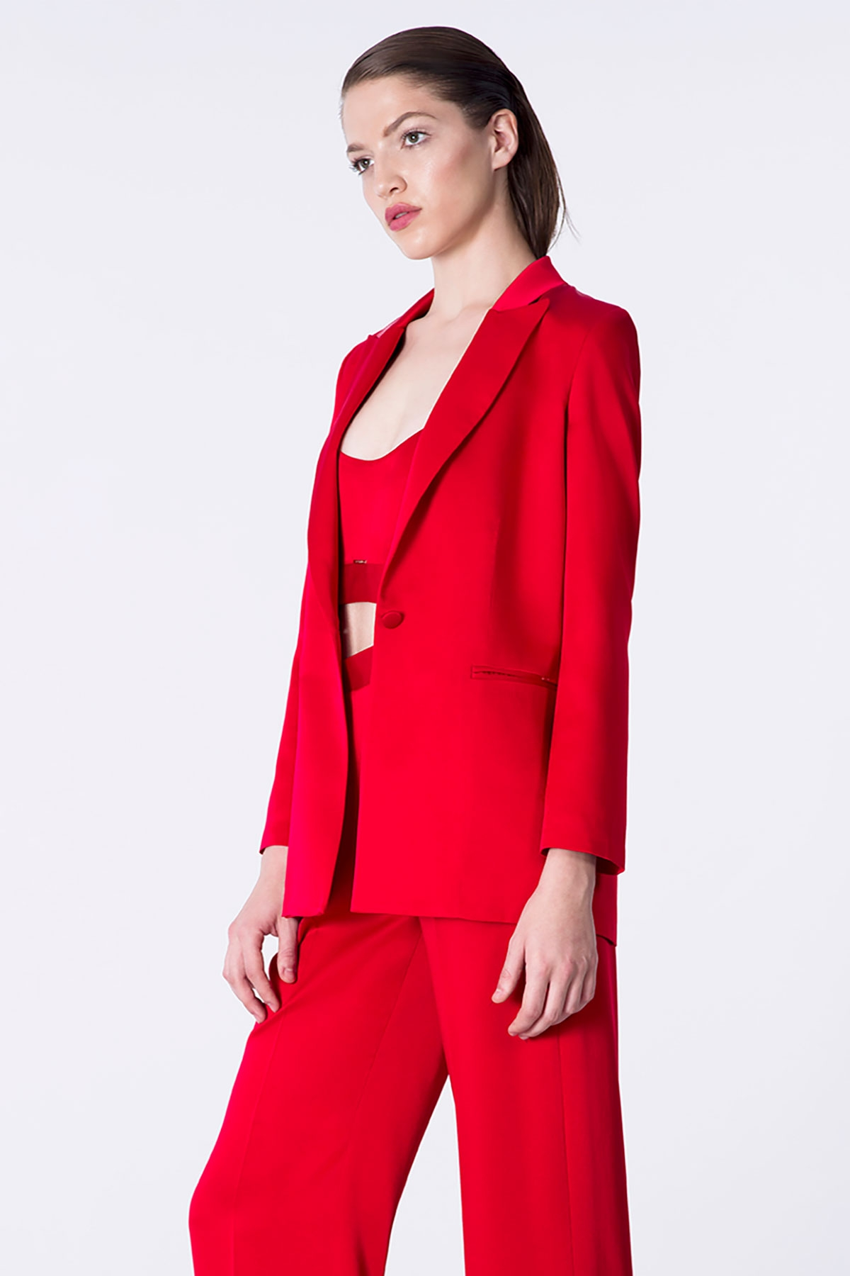 RED SATIN BLAZER