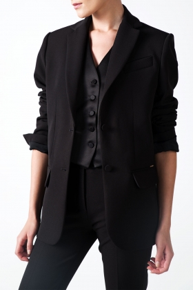 BLACK OVERSIZED BLAZER WITH SATIN DETAILS