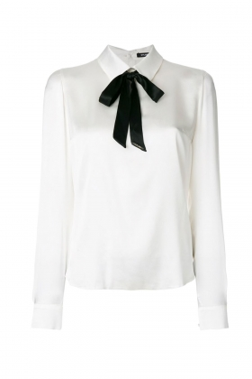 WHITE PUSSY-BOW SHIRT WITH BACK BUTTONS