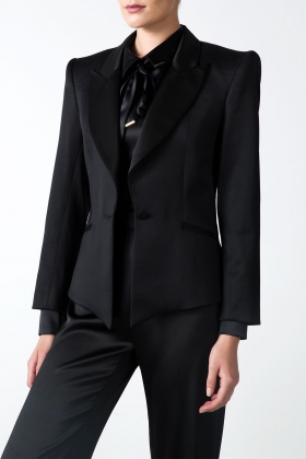 WOOL BLACK JACKET WITH SILK LAPEL