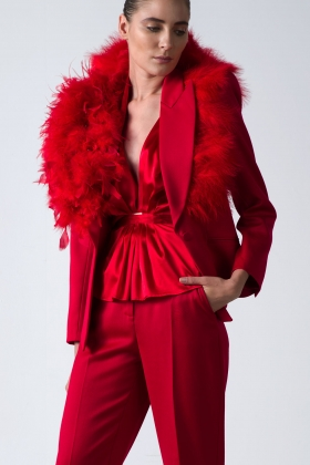 RED STATEMENT JACKET WITH FEATHERS