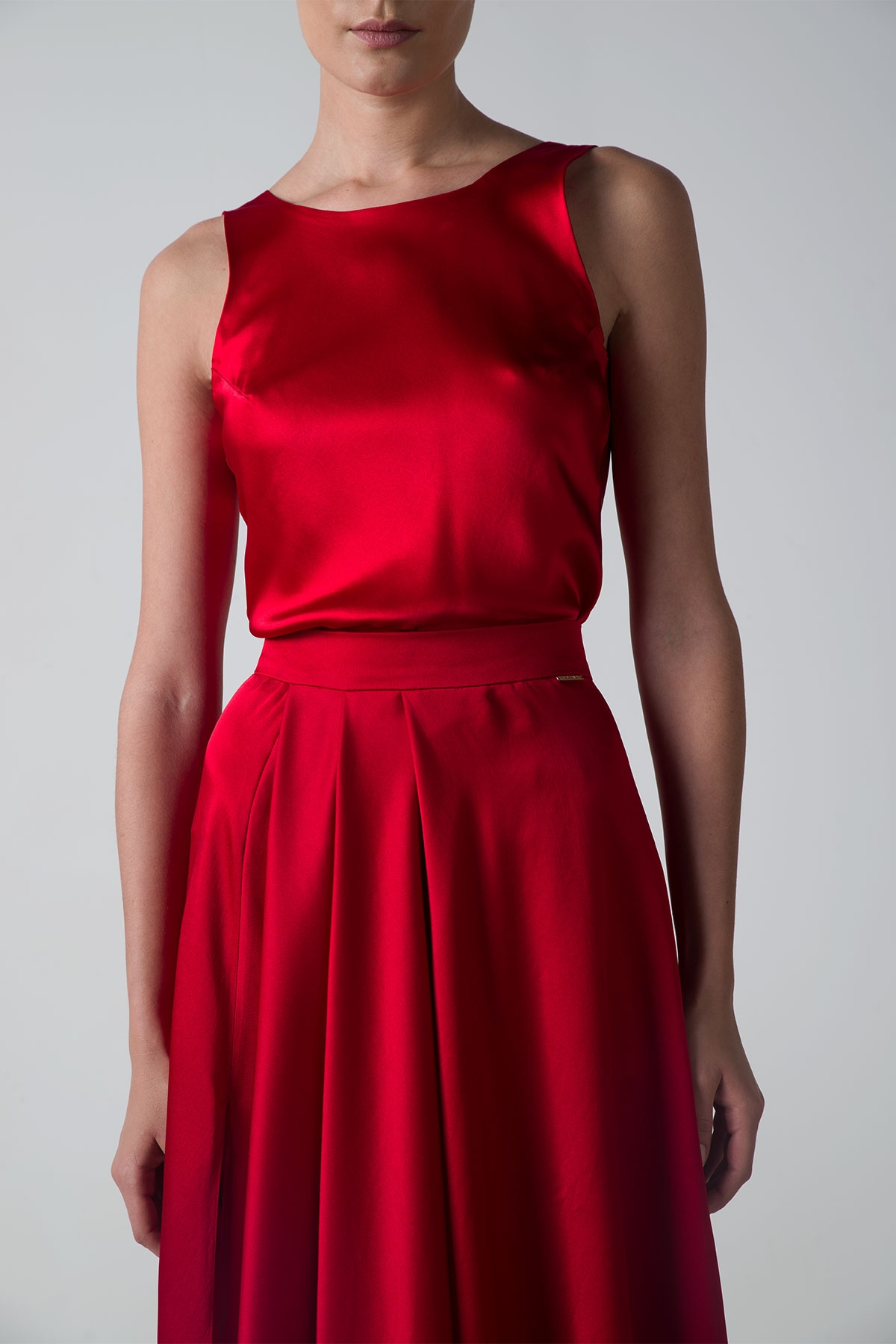 Red Long Skirt With Single Pocket Styland