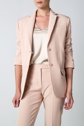 NUDE OVER-SIZED BLAZER WITH SATIN DETAILS