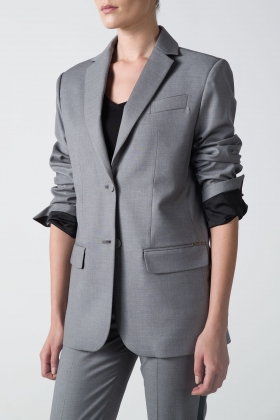 GRAY OVERSIZED BLAZER WITH SATIN DETAILS