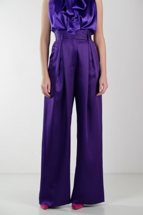 PURPLE SUPER WIDE-LET PANTS WITH HIGH WAIST