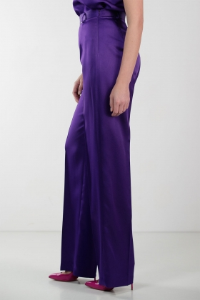PURPLE WIDE-LEG SATIN PANTS