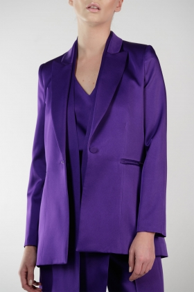 PURPLE SATIN BLAZER