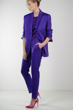 PURPLE OVERSIZED BLAZER WITH BLACK DETAILS