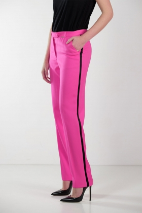 PINK TAILORED TROUSERS WITH BLACK STRIPE