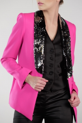 HOT PINK TUXEDO SEQUIN EMBELLISHED LAPEL