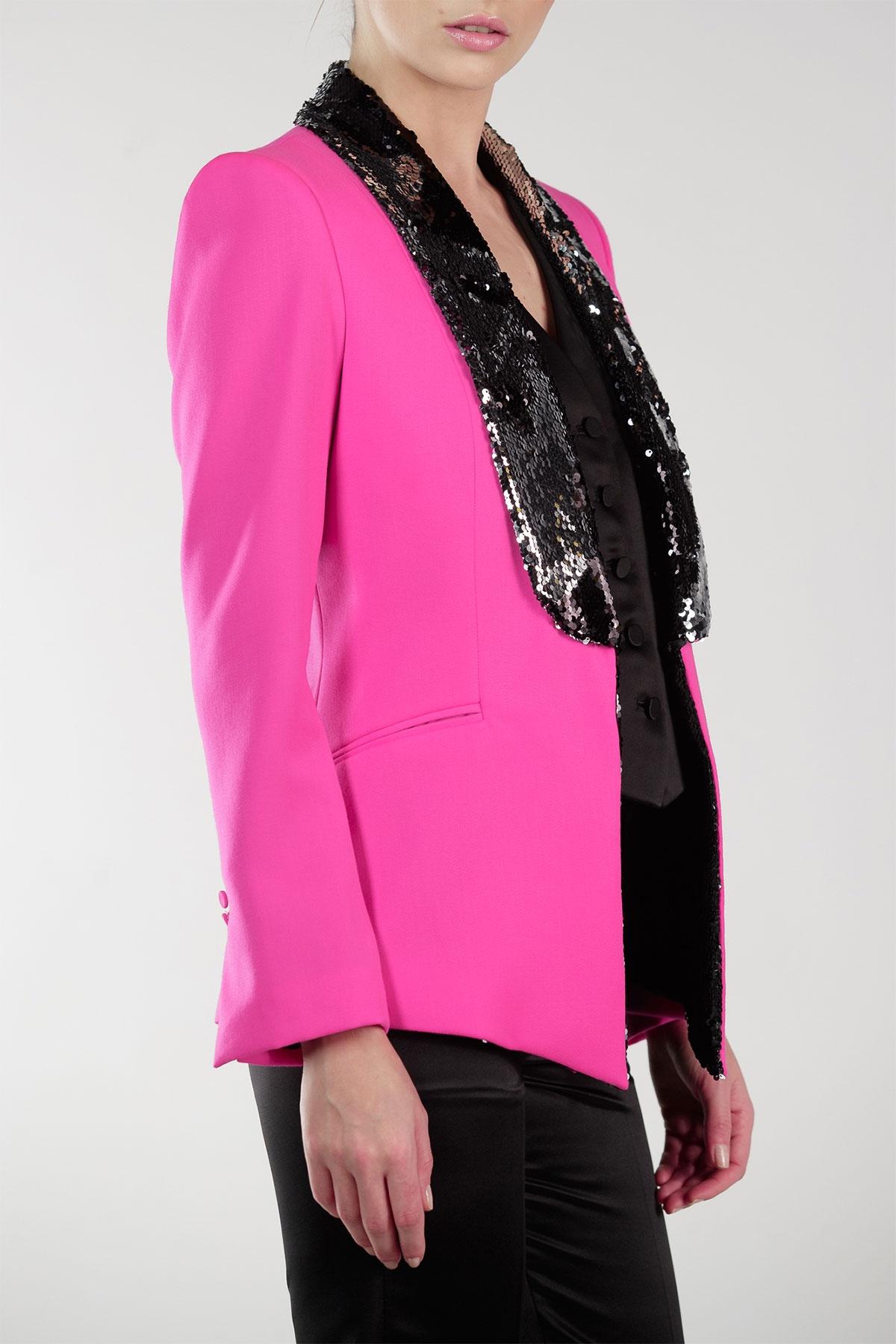 Hot Pink Tuxedo Sequin Embellished Lapel Styland
