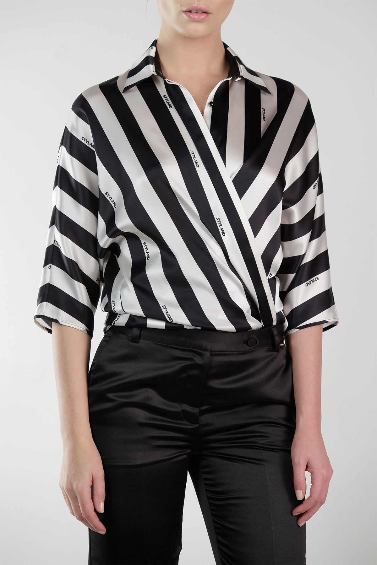 BOLD BLACK AND WHITE STRIPES SILK SHIRT WITH LOGO